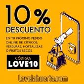 🔊🔊Nueva promoció en Love la Huerta!!! Un un 10% de descuento en tu próxima compra. Con el código LOVE10. PD: no aplicable a otros descuentos y promocionés. #lovelahuerta #lovenaranjas #lovemandarinas #loveaguacates #loveverdura #livefrutossecos #inlovelahuerta